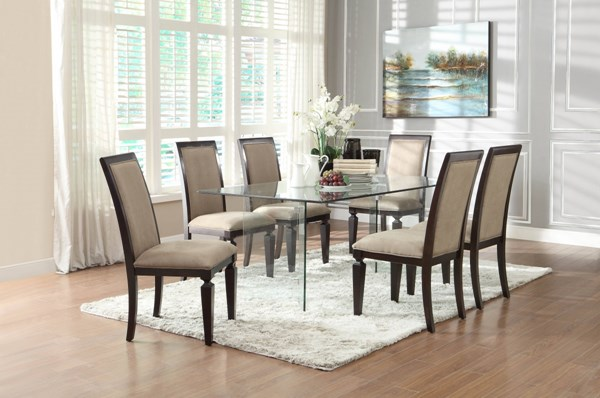 Alouette Dark Grey Fabric Wood Glass Rectangle 7pc Dining Room Set HE-17813-DR-S1
