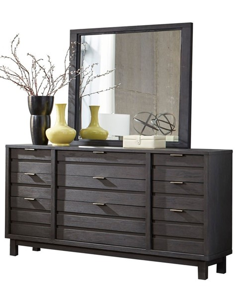 Home Elegance Robindell Ebony Dresser and Mirror HE-1790-DRMR