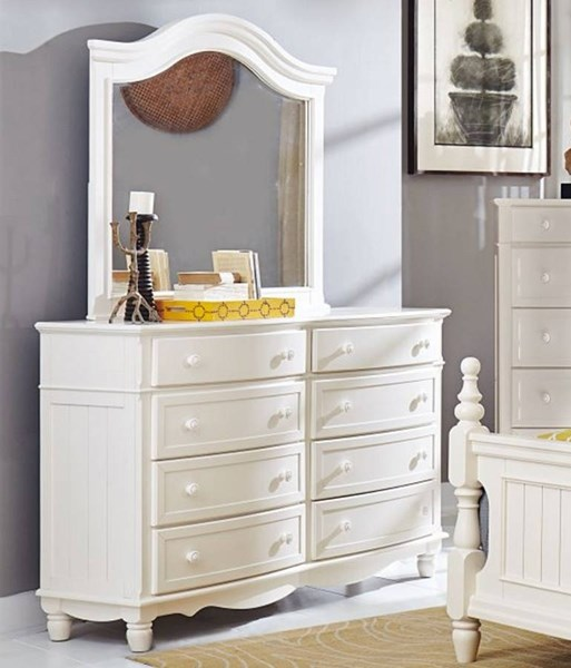 Clementine Classic White Wood Glass Eight Drawers Dresser And Mirror HE-1799-DRMR