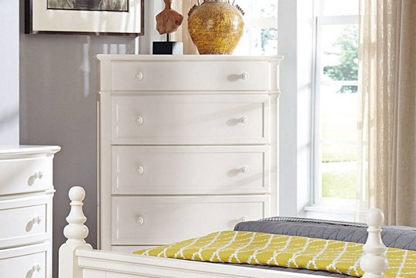 Clementine Classic White Wood Five Drawers Chest HE-1799-9