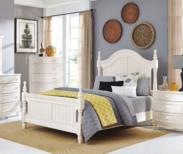 Clementine Classic White Wood Queen Poster Bed HE-1799-1