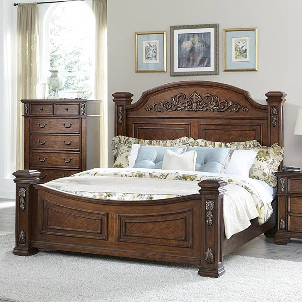 Donata Falls Warm Brown Wood Poster Beds HE-1800-BEDS