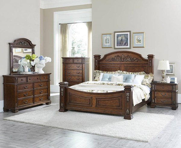 Donata Falls Warm Brown Wood Glass 2pc Bedroom Set W/Queen Bed HE-1800-BR-S1