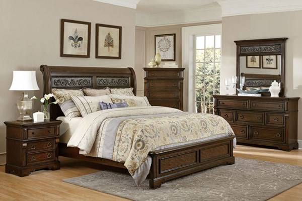 Calloway Park Classic Warm Cherry Faux Metal Wood 2pc Bedroom Set HE-1801N-BR-S
