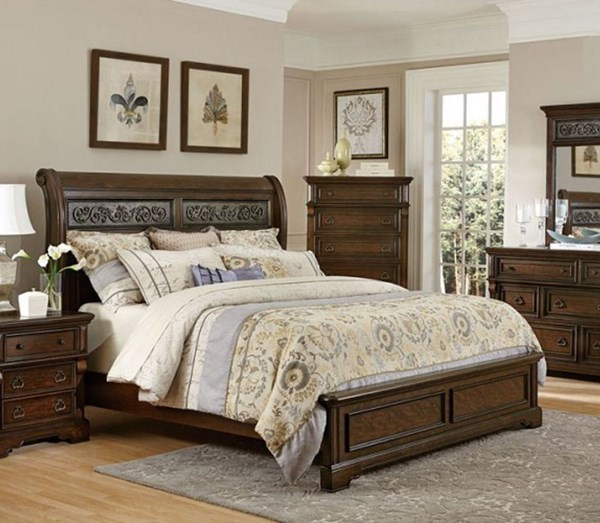 Calloway Park Classic Warm Cherry Faux Metal Wood Queen Bed HE-1801N-1