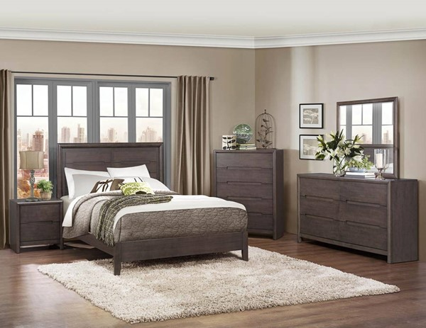 Lavinia Contemporary Weathered Grey Wood Master Bedroom Set HE-1806-BR