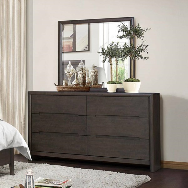Lavinia Contemporary Weathered Grey Wood Glass Dresser & Mirror HE-1806-DRMR