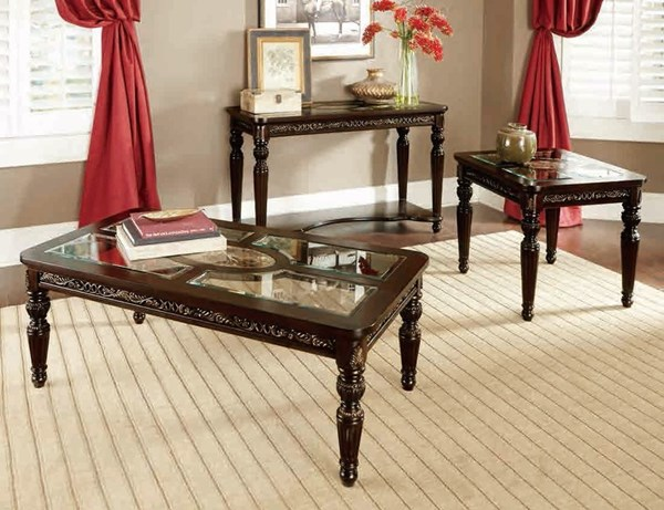 Russian Hill Traditional Cherry Wood Glass Coffee Table Set HE-1808-OCT
