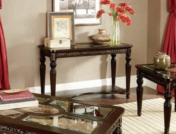 Russian Hill Traditional Cherry Wood Glass Faux Marble Sofa Table HE-1808-05