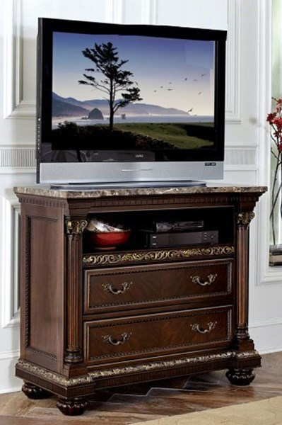 Russian Hill Traditional Warm Cherry Wood Faux Marble Top TV Chest HE-1808-11