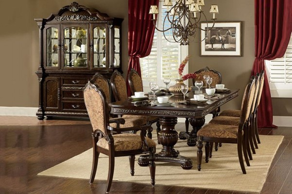 Russian Hill Traditional Warm Cherry Wood Double Pedestal Dining Table HE-1808-112