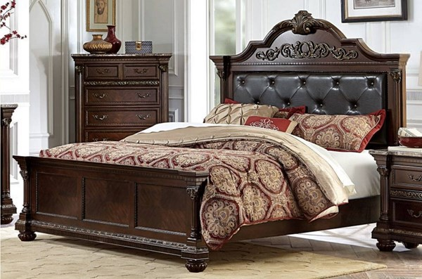 Russian Hill Traditional Cherry Brown Wood Bi-Cast Vinyl Queen Bed HE-1808-1