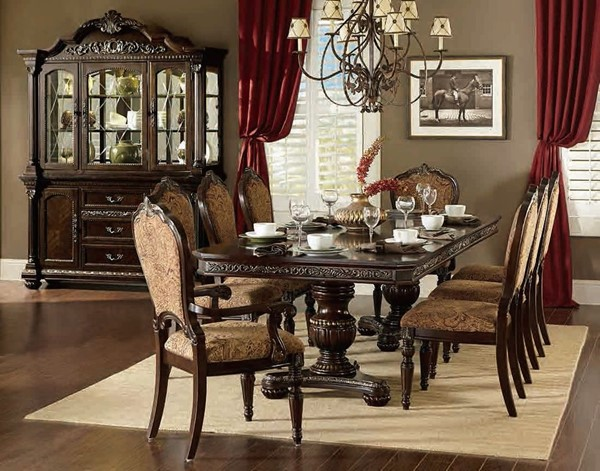 Russian Hill Warm Cherry Wood Double Pedestal Dining Room Set HE-1808-DR