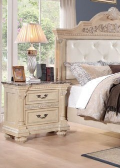 Russian Hill Traditional White Wood Faux Marble Top Night Stand HE-1808W-4