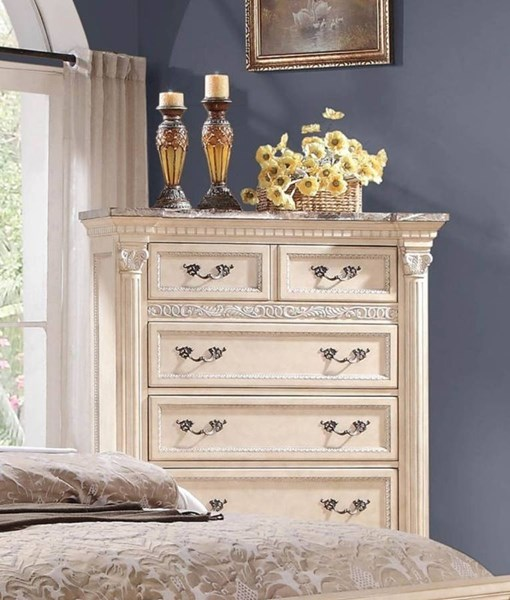 Russian Hill Traditional Antique White Wood Faux Marble Top Chest HE-1808W-9