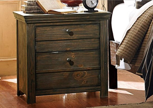 Hardwin Rustic Brown Wood Night Stand HE-1809-4