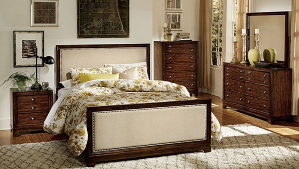 Bernal Heights Modern Warm Cherry Fabric Wood 2pc Bedroom Sets HE-1810-BR-S