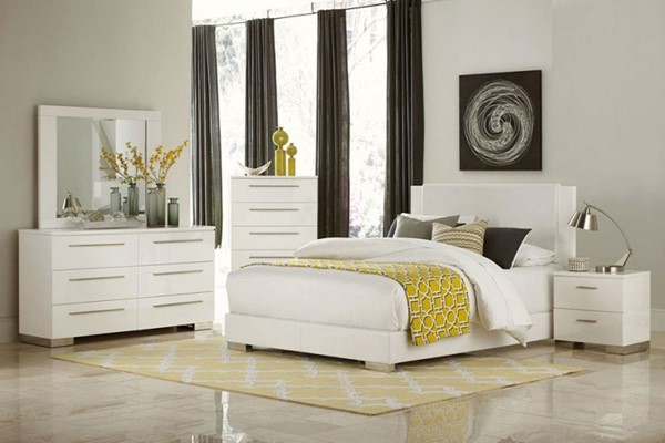 Linnea Contemporary White Vinyl Wood Glass 2pc Bedroom Sets HE-1811W-BR-S