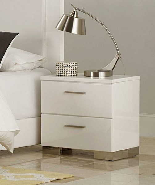 Linnea Contemporary White Drawer Night Stand HE-1811W-4
