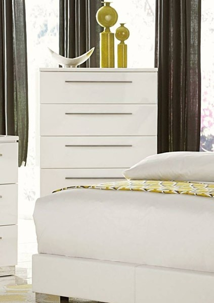 Linnea Contemporary White Wood Drawer Chest HE-1811W-9