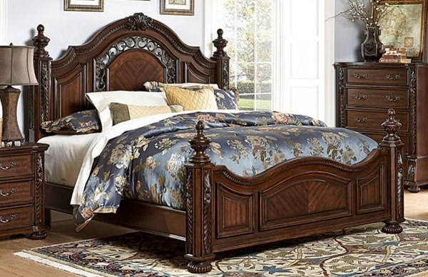 Augustine Court Traditional Rich Brown Cherry Wood King Bed HE-1814K-1EK