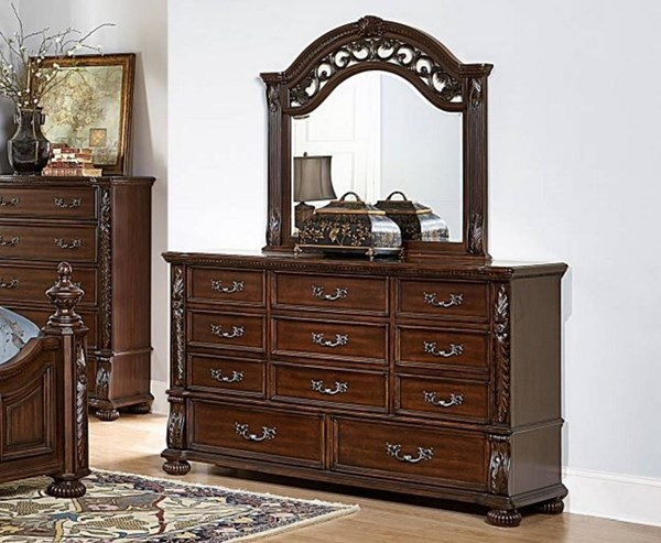 Augustine Court Traditional Rich Brown Cherry Wood Dresser HE-1814-5