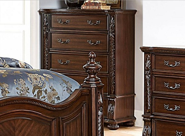 Augustine Court Traditional Rich Brown Cherry Wood Chest HE-1814-9