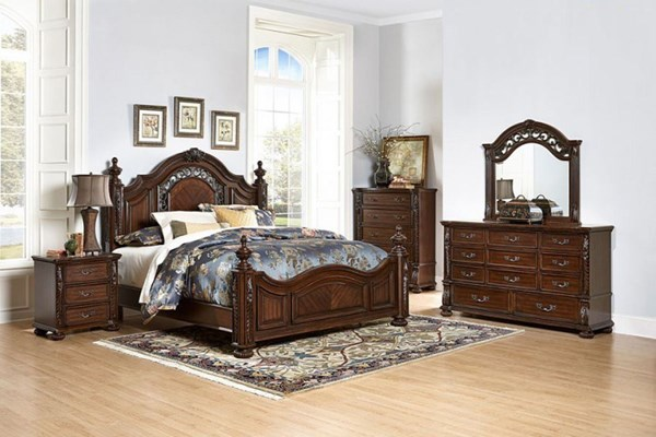 Augustine Court Traditional Brown Cherry Wood 2pc Bedroom Sets HE-1814-BR-S