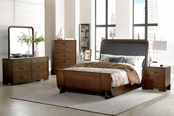 Minato Brown Cherry Wood Bi-Cast Vinyl 2pc Bedroom Sets HE-1815-BR-S