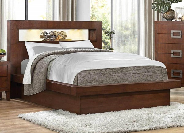 Arata Contemporary Cappuccino Brown Wood Bed HE-1817-BEDS