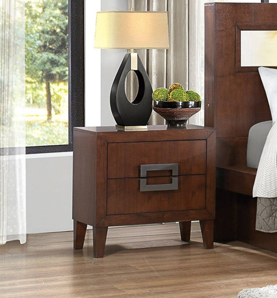 Arata Contemporary Cappuccino Brown Wood Night Stand HE-1817-4