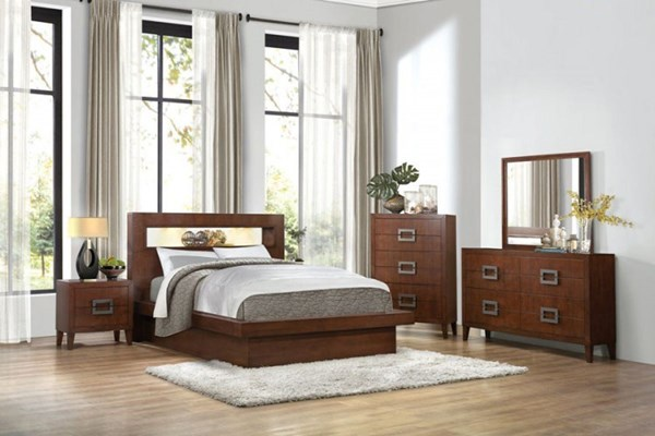 Arata Contemporary Cappuccino Brown Wood 2pc Bedroom Set W/King Bed HE-1817-BR-S2