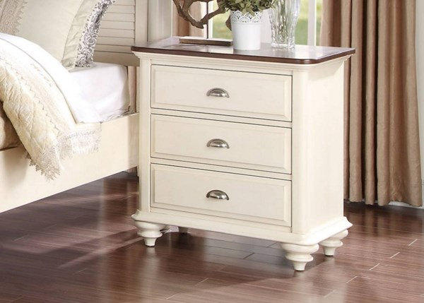 Floresville Traditional Antique White Wood Night Stand HE-1821-4