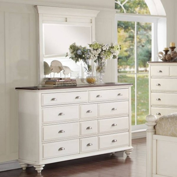 Floresville Traditional Antique White Wood Glass Dresser & Mirror HE-1821-DRMR
