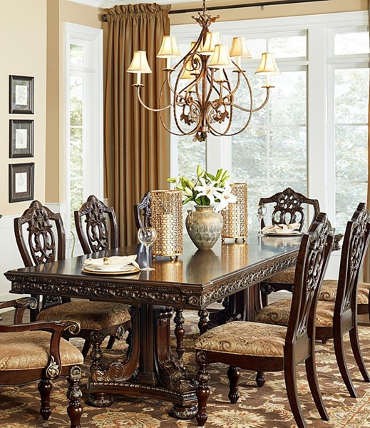 Home Elegance Catalonia Cherry Double Pedestal Table HE-1824-112