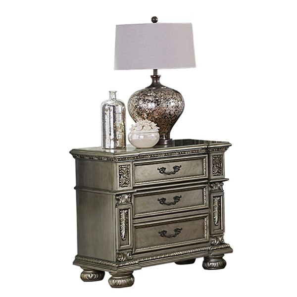 Home Elegance Catalonia Platinum Gold Night Stand HE-1824PG-4