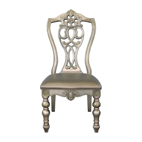 2 Home Elegance Catalonia Platinum Gold Side Chairs HE-1824PGS