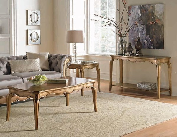 Chambord Modern Champagne Gold Wood Coffee Table Set HE-1828-OCT