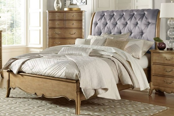 Chambord Modern Champagne Gold Wood Faux Silk Beds HE-1828-BEDS