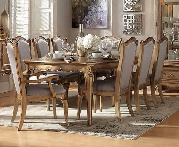 Chambord Modern Champagne Gold Wood Dining Table HE-1828-92