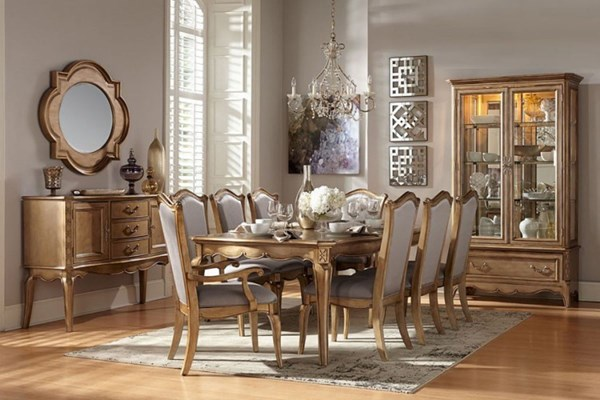 Chambord Modern Champagne Gold Wood Faux Silk 7pc Dining Room Set HE-1828-DR-S1