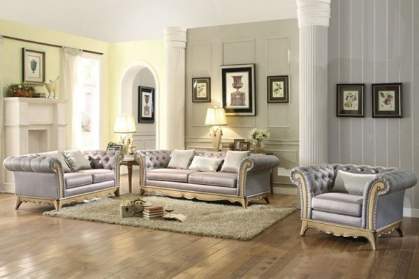 Chambord Modern Champagne Gold Wood Faux Silk 3pc Living Room Set HE-18289-LR-S1