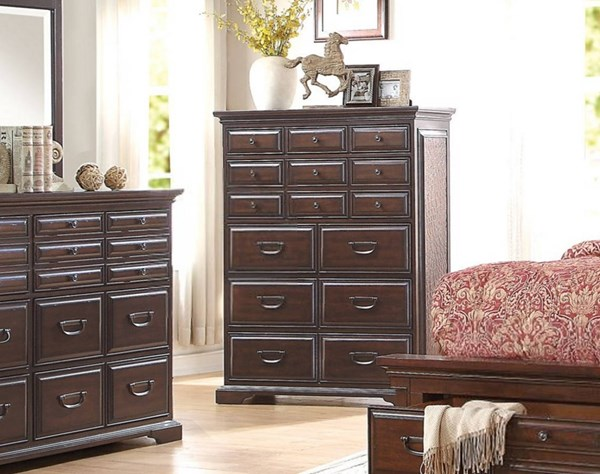 Cranfills Traditional Cherry Wood Drawer Chest HE-1832-9