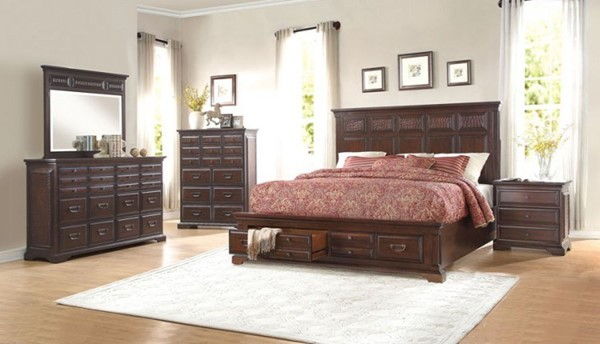 Cranfills Traditional Cherry Wood Glass Master Bedroom Set HE-1832-BR