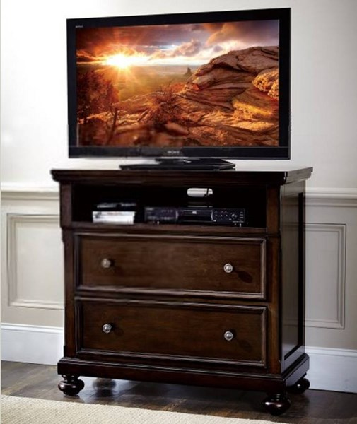 Faust Traditional Dark Cherry Wood TV Chest HE-1834-11