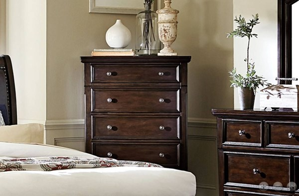 Faust Traditional Dark Cherry Wood Chest HE-1834-9