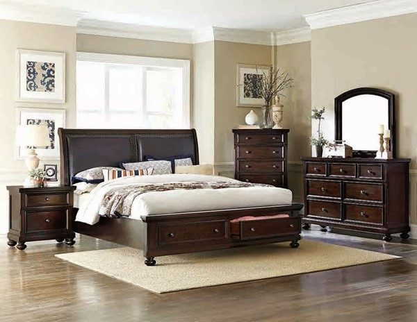 Faust Cherry Brown Wood Bi-Cast Vinyl 2pc Bedroom Set W/Queen Bed HE-1834-BR-S1