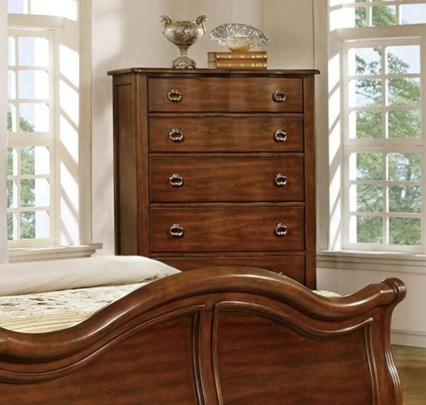 Davina Cherry Brown Wood 5 Drawer Chest W/handles HE-1837-9