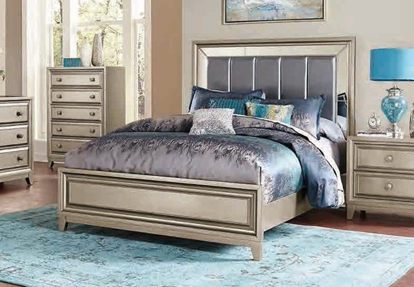 Hedy Contemporary Silver Wood Vinyl Glass Beds HE-1839-BEDS