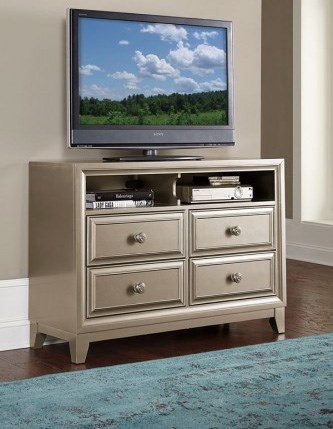 Hedy Contemporary Silver Wood TV Chest W/2 Shelf HE-1839-11